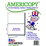 "Americopy - Half Sheet - Shipping Labels - 5-1/2"" X 8-1/2"" - 200 Labels"