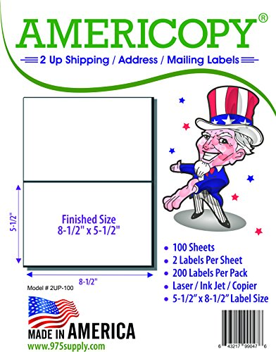 Half Sheet Labels - Americopy - Shipping / Mailing Labels - 5-1/2