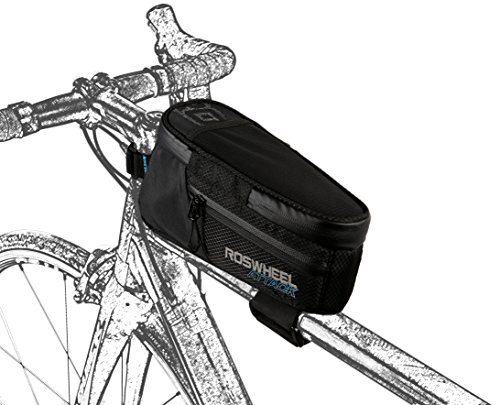 Roswheel Attack Series 121370 Waterproof Bike Front Frame Bag Bicycle Tube Top Pannier Cycling Accessories Pack with Phone Holder, Black ()