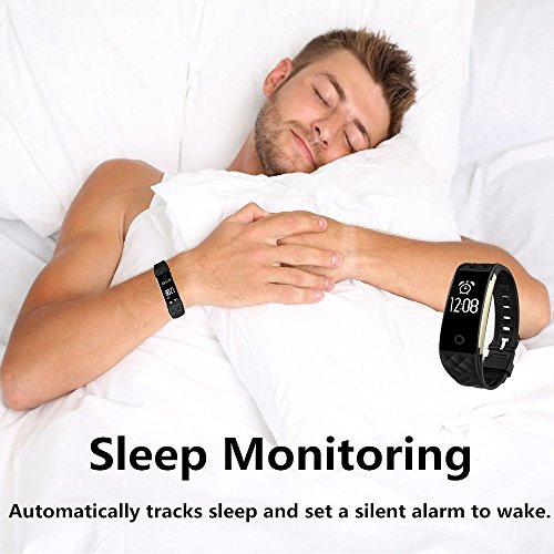 Fitness Tracker, Toprime Waterproof Activity Tracker with Heart Rate Monitor Sleep Monitor Pedometer Calorie Counter, Smart Watch for Android and IOS, Black
