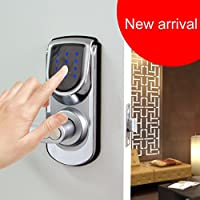 Keyless Smart Security Electronic Touch screen Keypad Door Lock Reversible Lever Handle Home Use Entry 6600-101C Silver