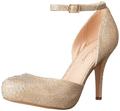 Beige Cinturino alla Nude Caviglia Scarpe Fabric PleaserCovet Beige Mesh Glitter con Donna 03 qWp8Wf4