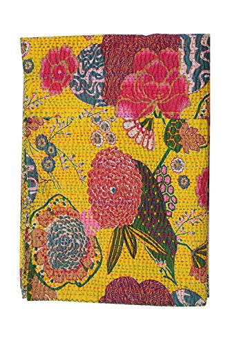Artisan Craft Indian Cotton Bedspread King Size Floral Print Kantha Stitch, 90 X 108 Inches