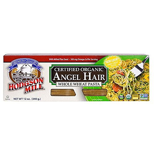 Hodgson Mill Organic Whole Wheat Angel Hair Pasta, 12- ounce (Pack of 12),Whole Grain Pasta, Wholesome and Delicious with Tomato Sauce, Health Conscious Substitute for Refined White Pasta