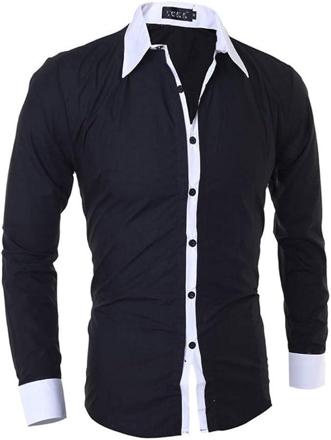 SXZG Camisa de diseño para Hombre Camisa Casual de Manga Larga con Borde Rayado para Hombre: Amazon.es: Ropa y accesorios