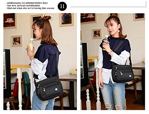 Women Handbag black for Pocket Girls Tote Bag Large Nylon Bags Purses Waterproof Shoulder Satchel Crossbody Ladies Bag Zipper nOCIHq