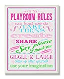Stupell Home Décor Pink, Green And Blue Playroom Rules Rectangle Wall Plaque, 11 x 0.5 x 15, Proudly Made in USA