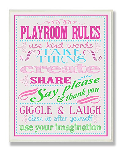 Stupell Home Décor Pink, Green And Blue Playroom Rules Rectangle Wall Plaque, 11 x 0.5 x 15, Proudly Made in USA by The Kids Room by Stupell
