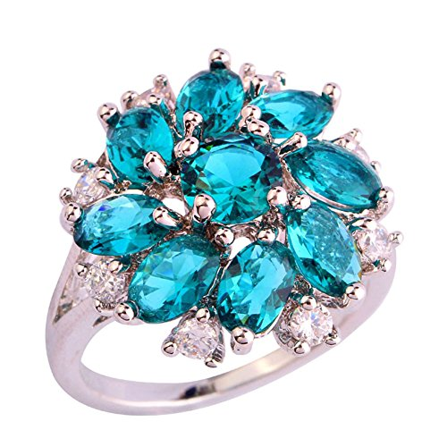 Psiroy Created Green Topaz Gemstone Cluster Flower Statement Ring for Women