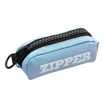 KCPer Big Capacity Pencil Pen Case Bag Pouch Holder Zipper Pen Bag Large Capacity Simple Canvas Pencil Case Pencil Case Pencil Bag Blue