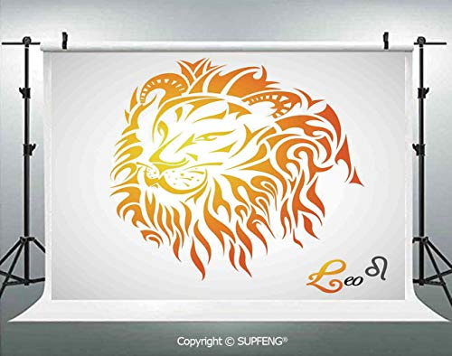 Photography Backdrops Leo Zodiac Sign on Plain Background Sun Mystic Lion King Self Power Universe Theme Decorative 3D Backdrops for Photography Backdrop Photo Background Studio Prop