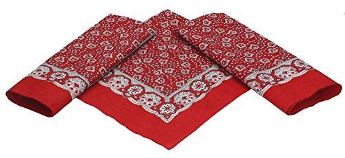 Betz lot de 3 bandanas classiques à motif paisley 55 x 55 cm en 100% coton, couleur rouge