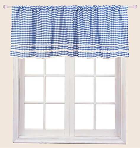 (ZHH 59 Inch x 17 Inch Cotton Valances Crochet Side Kitchen Curtain, Blue and White Plaid Cross)