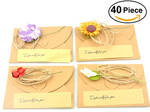 Handmade Blank Note Card - Maydahui Vintage Kraft Handmade Greeting Wish Card with Dried Flower,Hemp Rope,Envelope Used as Thank You Notes,Party Invitation Card (Pack of 40,Small - 4