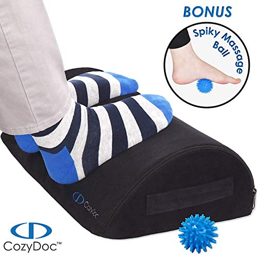 COZYDOC Ergonomic Foot Rest Cushion Under Desk Massage Ball The World s Most Comfortable Footrest for Home, Office, Travel Doctor Designed Orthopedic Foam for Feet, Knee, Back Pain Relief Black