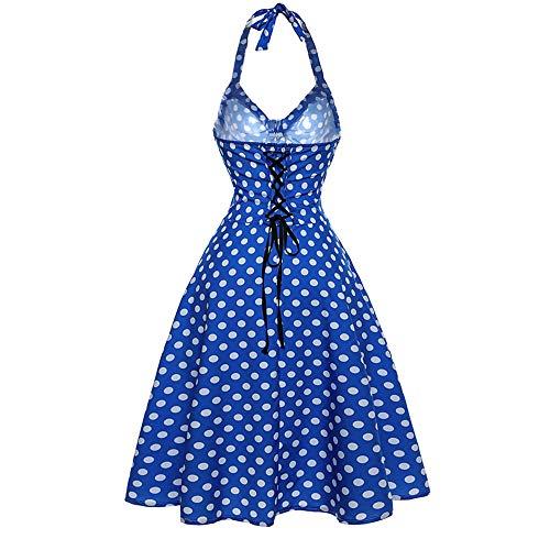 iLUGU Women Vintage Dress Retro Bodycon Dress Sleeveless Halter Dress Evening Party Dress Prom Swing Dress