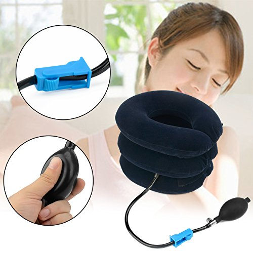 Neck Traction Device Instant Relief for Chronic Neck Shoulder Back Pain, Alleviate Spine Compression and Pinched Nerve, Inflatable & Adjustable & Soft (M, Blue) by Vicnice (Image #5)