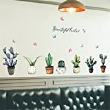 1 Set 3D DIY Cactus Family Wall Stickers Mural Art Wallpaper Decal Living Room Bedroom Teen Nursery Good Popular Dream World Moon Star Ocean Sun Flower Removable Vinyl Home Decor