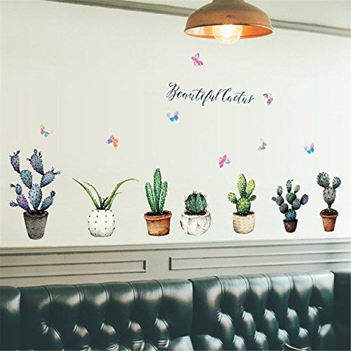 1 Set 3D DIY Cactus Family Wall Stickers Mural Art Wallpaper Decal Living Room Bedroom Teen Nursery Good Popular Dream World Moon Star Ocean Sun Flower Removable Vinyl Home -