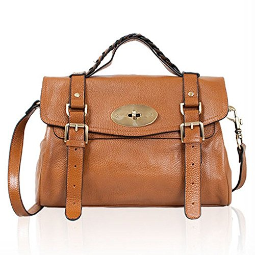 Leather Satchel Shoulder Daily Handbag Medium (brown)