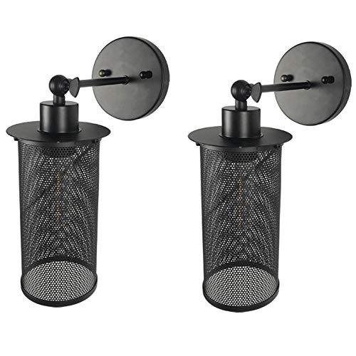 LDDENDP (1 Pack / 2 Pack) Vintage Attic Industrial Style Wrought Iron Hollow Black Metal Shade Simple Restaurant Bar Bedroom Cafe Practical Mesh Cover With Switch Wall Light Outdoor Terrace ()