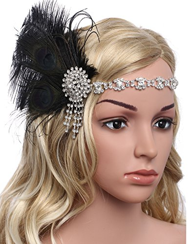[BABEYOND Women's Peacock Headband Womens Crystal Headband Feather Headband Flapper Headbands 1920s] (Dresses From The 1920s)