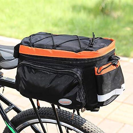 Bolsa Bicicleta Alforja para maletero de bicicleta, Alforja de asiento trasero para bicicleta de gran capacidad, apta para viaje en bicicleta con cubierta a prueba de lluvia Bolsa Impermeable para Bic: Amazon.es: