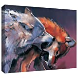 ArtWall Mark Adlington 'Two Wolves' Gallery Wrapped Canvas Artwork, 36 by 48-Inch