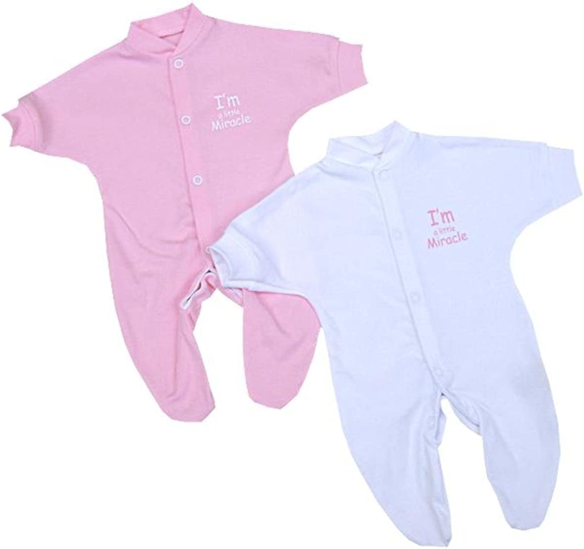 2 I'm a Little Miracle Preemie Early Baby Clothes Sleeper Footie 3.5 - 5.5lb PK