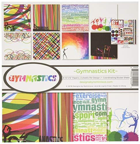 Gymnastics Scrapbook Stickers - Reminisce (REMBC) GYM-200 Gymnastics Scrapbook Collection Kit, Multi