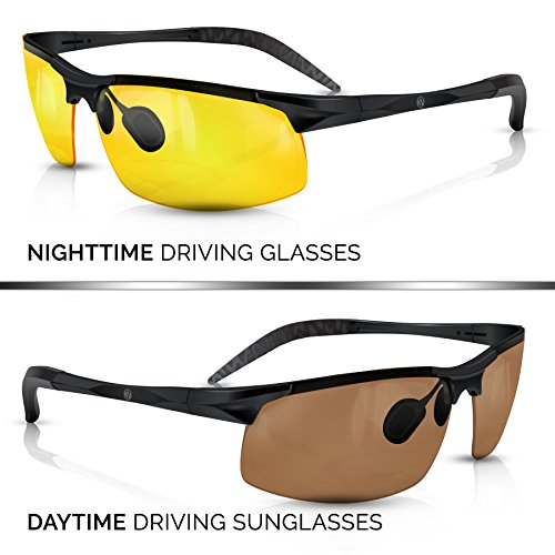 BLUPOND KNIGHT VISOR Set of 2 - Driving Glasses Anti-Glare HD Vision - Yellow Lens Night Driving Glasses Plus Copper Daytime Driving Sunglasses for Hunting, Fishing, Cycling, PLUS CAR CLIP - Target Sunglass Case