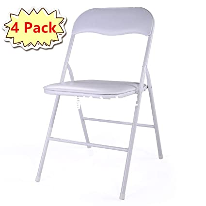 Pleasing Amazon Com 4Pcs Commercial White Plastic Folding Chairs Evergreenethics Interior Chair Design Evergreenethicsorg