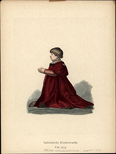 Prayer In C Costume (16th century Italian child boy in prayer c.1875 antique ethnic costume print)
