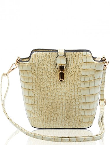 Crocodile Bag Plain Body Body Skin pearl 160402 Size Small Chic Handbags Ladies Cross Women's Faux LeahWard C Across n0Yz4gqw