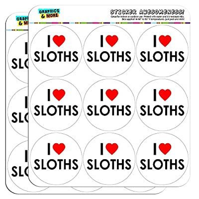 I Love Heart Sloths 2&Quot; Planner Calendar Scrapbooking Crafting Stickers - Sloth Art