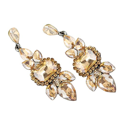 Large Art Deco Antique Vintage Style Gold Brown Amber Topaz Citrine Rhinestone Earrings ()