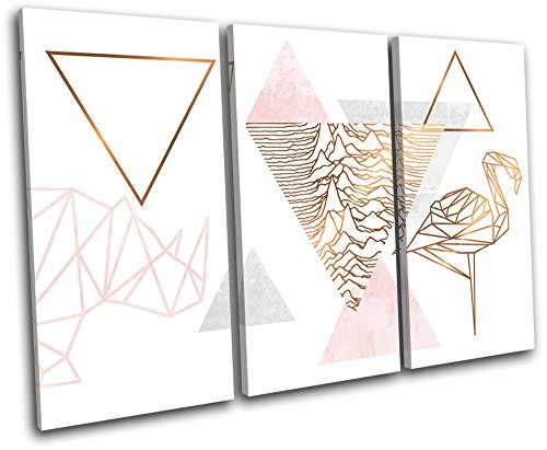Bold Bloc Design - Geometric Flamingo Rose Gold Fashion 60x40cm TREBLE Canvas Art Print Box Framed Picture Wall Hanging - Hand Made In The UK - Framed And Ready To Hang by Bold Bloc Design