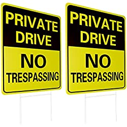 WaaHome 2 Pack Private Driveway Sign with Metal Wire H-Stakes, 12''X17'' Outdoor Private Drive No Trespassing Signs