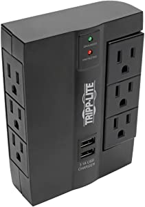 TRIPP LITE 6 Outlet Surge Protector Power Strip, 3 Rotatable Outlets, Wall Tap/Direct Plug in, 1080 Joules, 2 USB Charging Ports, Limited Warranty & $20, 000 Insurance (SWIVEL6USB)