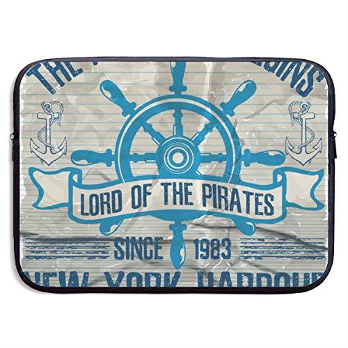 Ocean Sailing Yacht Club Grunge Artwork 13-15 Inch Laptop Sleeve Bag Portable Dual Zipper Case Cover Pouch Holder Pocket Tablet Bag,Water Resistant,Black