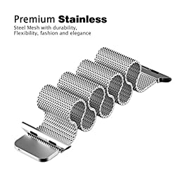 GEOTEL Apple Watch Band 38mm, Milanese Loop Stainless Steel Bracelet Strap Band for Apple Watch Series 1 Series 2 Sport&Edition with Unique Magnet Lock(No Buckle Needed) (38mm-Silver)