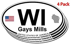 Gays Mills, Wisconsin Oval Sticker - 4 pack