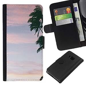 A-type (Tree Pink Sky Clouds Summer) Colorida Impresión Funda Cuero Monedero Caja Bolsa Cubierta Caja Piel Card Slots Para HTC One M9