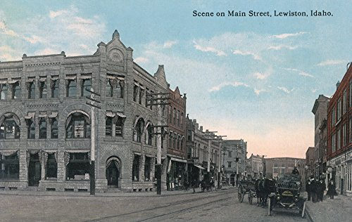 Lewiston, Idaho - Main Street Scene with Horse Carriages and Model-T (24x36 SIGNED Print Master Giclee Print w/Certificate of Authenticity - Wall Decor Travel Poster)
