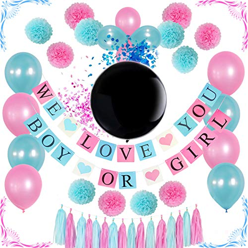 Gender reveal party supplies kit / 36 BLACK BALLOON/Tissue Pom Poms/Boy or Girl Banner/Boy or Girl Baby Shower Decorations/Pregnancy Announcement