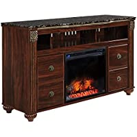 Ashley Furniture Signature Design - Gabriela Large TV Stand with Fireplace Insert - Reddish Brown