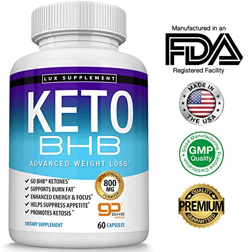 Keto Pills Advanced Weight Loss BHB Salt - Natural Ketosis Fat Burner Using Ketone & Ketogenic Diet, Boost Energy While Burning Fat, Fast & Effective Perfect for Men Women, 60 Capsules, Lux Supplement (Best Natural Fat Burner Supplement 2019)