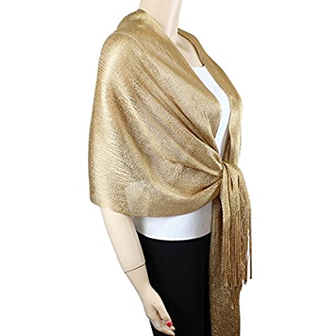 Shimmer and Shine Fringed Scarf, Gold - Womens Shimmer
