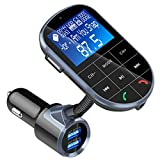FM Transmitter, BENEO Bluetooth FM Transmitter Wireless Radio Audio Adapter Receiver Car Kit MP3 Player with On Off Button/Hands Free Calling/Dual USB Charger/U-disk/TF Card/A2DP Aux Input/Display