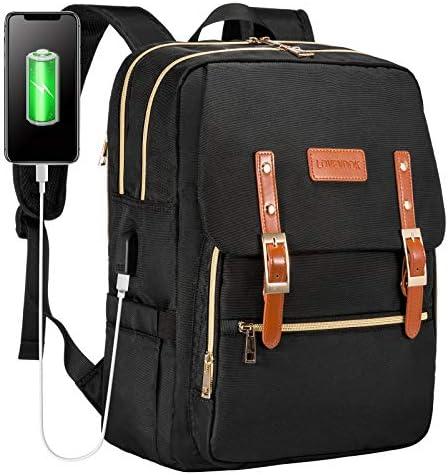 Laptop Backpack for Women Men 15.6 inch Teacher Backpack Computer Bag Water-Resistant Travel Work Bag with USB Charging Port(Black)
